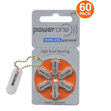 60 PowerOne Hearing Aid Batteries Size 13 + Free Keychain/2 Extra Batteries