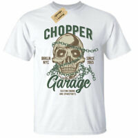 Chopper Garage T-Shirt Mens Skull biker motorcycle rider motorbike white