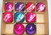 Vintage Shiny Brite Assorted Glass Christmas Ornaments in Box Lot of 9 X1094