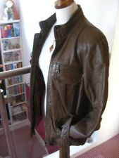 size UK 12 10 Ladies NEXT brown real leather belted JACKET SAFARI check biker