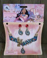 Disney Princess Pocahontas Glitter Enamel Jewelry Earrings & Neckless Set