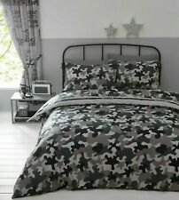 Grey Beige Brown Black Camouflage Reversible Slogans Double Duvet Cover Set