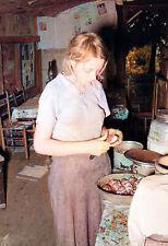 "1939 Farmer's Daughter Peeling Potatoes Old Photo 13"" x 19"" Reprint Colorized"