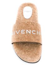 NIB Givenchy Women's Open Toe Cork Logo Pool Slides Sandals Size 36.5