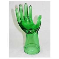 "NEW Art Deco Chic Green Glass 8"" Hand Figurine Jewelry Display Ring Holder"