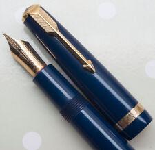 FABULOUS DARK BLUE VINTAGE ENGLISH PARKER MAXIMA DUOFOLD , HUGE No.50 NIB.