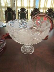 VINTAGE AMERICAN BRILLIANT FLOWER PERIOD FOOTED BOWL CUT GLASS FROSTED [TOP4]
