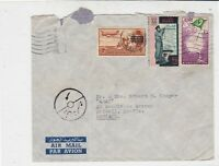 Egypt 1954 Airmail Multiple Stamps Cover to Staffs England Ref 34963