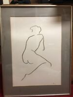 Original Minimalist Pencil on Paper Drawing of Nude Female c.1940's PARIS FRANCE
