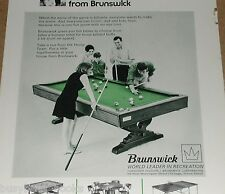 1968 Brunswick Pool Table advertisement, billiard table, card, bumper pool etc