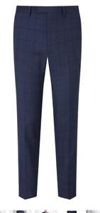 John Lewis Kin Windowpane Check Slim Fit Suit Trousers Navy 36L