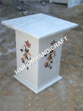 """18""""H White Marble Table Top Stand Base Handmade Floral Inlay Home Decor E673(1)"""
