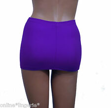 "Micro MINI SKIRT Very Short 9"" Purple Blue Lycra Stretch Womens Party Club H116"