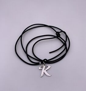 James Avery Sterling Initial Letter K Pendant On Black Leather Adjustable Cord
