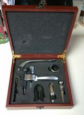 Rabbit style wine bottle corkscrew kit. In simulated mahogany box.