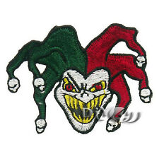 Six Head Embroidered Skull Joker Jester Iron on Sew on Biker Patch Badge