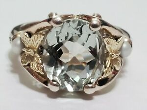 ANN KING Sterling Silver 18k Gold Green Quartz & Pearl Butterfly Ring ~ Size 9