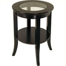 Winsome Genoa Espresso Wood Dark Brown End Table with Glass Top