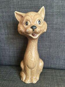Vintage SylvaC Pottery - 5298 Tan Glazed Comical Cat Figure