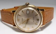 Vintage Mens 1968 Marlin Self Wind Automatic GOLD New Pig Skin Band Day RUNNING