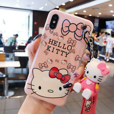 For iPhone XS Max XR 7 8+ Cute Hello Kitty Case Cover & Lanyard & Doll Kickstand