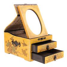 Yellow Vintage Wooden Dresser Chest 2 Drawer Mirror for Jewelry Storage Case