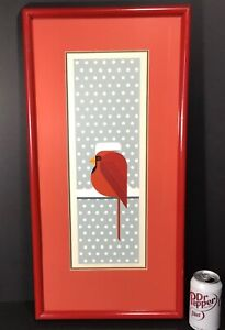 "Red original Charley Harper Hand Signed Series 34 Serigraph ""Cool Cardinal"" 74"