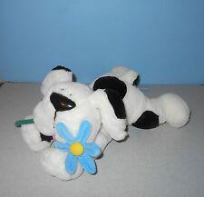 "14"" Cuddly Messengers Puppy Dog Bean Plush Black & White Flower by Commonwealth"