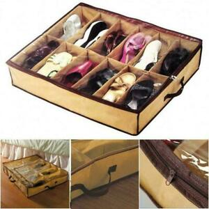 12 Pairs Shoe Tidy Under Bed Storage Storer Organiser Bag Closet For Shoes H8D8