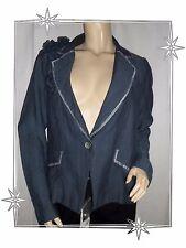 D - Magnifique Veste Blazer Bleu Fantaisie Julie Guerlande Taille 42