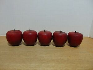 """Wood Decorative Apples With Antique Wrought Nail Stems Handmade 2 3/4"""" Vintage"""