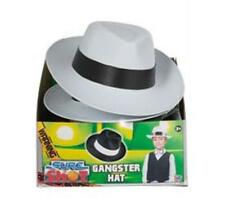 WHITE GANGSTER FEDORA HAT + BLACK BAND - KIDS ADULTS MOBSTER CAPONE FANCY DRESS