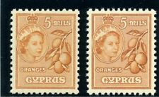 Cyprus 1955 QEII 5m in the two listed shades superb MNH. SG 175, 175a.