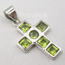 Faceted Peridot Pendant for Necklace 925 Sterling Silver Fashion Jewelry