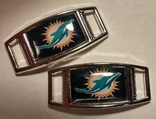 Set of 2 MIAMI DOLPHINS Shoelace Charms For Paracord Projects NEW
