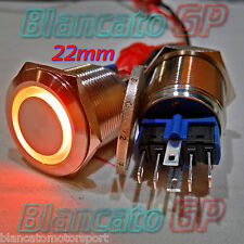 PULSANTE monostabile 22mm in acciaio INOX SPDT LED arancio 12V Waterproof metal
