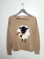 NEXT Petites (UK 8) Light Brown Knitted Jumper Sheep Design (Harry Potter Style)