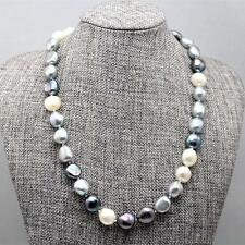 elegant 10-11mm nature MultiColor south sea baroque pearl necklace 18''