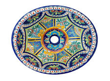 #124 SMALL BATHROOM SINK 16x11.5 MEXICAN CERAMIC HAND PAINT DROP IN UNDERMOUNT