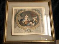 Nicolaus de Launay color etching/engraving after Fragonard Le Petit Predicateur