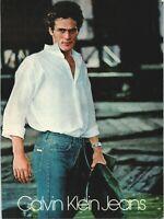 Calvin Klein Jeans 1970s Fashion Mens Style Blue Denim 1979 Vintage Print Ad