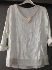 D&F Made in Italy Shirt Tunika Bluse Leinen Weiß Gr.36,38