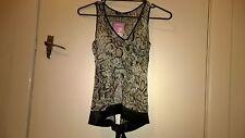 Bnwt Dangerfield snake pattern sheer sleeveless blouse tie waist 6 rrp49.95