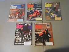 LOT OF 5 1990 RIDER MOTORCYCLE MAGAZINES,YAMAHAS,MOTOGUZZI,BMW,CAGIVAS,HARLEYS