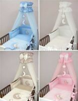 Luxury 10 Pcs Embroidered Baby Toddler Canopy Bedding Set For Cot Cot Bed - Moon