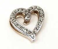 10K Solid GOLD Genuine Diamond .22 ct Heart Slide Pendant Reversible Two Tone