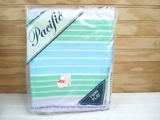 Vtg Pacific Twin Size Flat Bed Sheet Pastel Stripes Blue Green Morning Light NOS