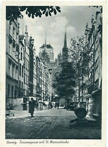 AK DANZIG /GDANSK Frauengasse, St. Marienkirche, N...-Fahnen um 1940