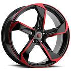 "4-Revolution R20 18x8 5x4.5"" +40mm Black/Red Wheels Rims 18"" Inch"