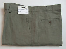 $79 New Jos A Bank JOSEPH ABBOUD Linen flat front shorts in Olive 38 W